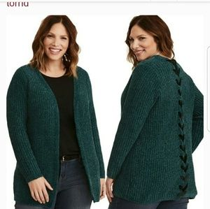green NEW chenille lace up back sweater cardigan 2